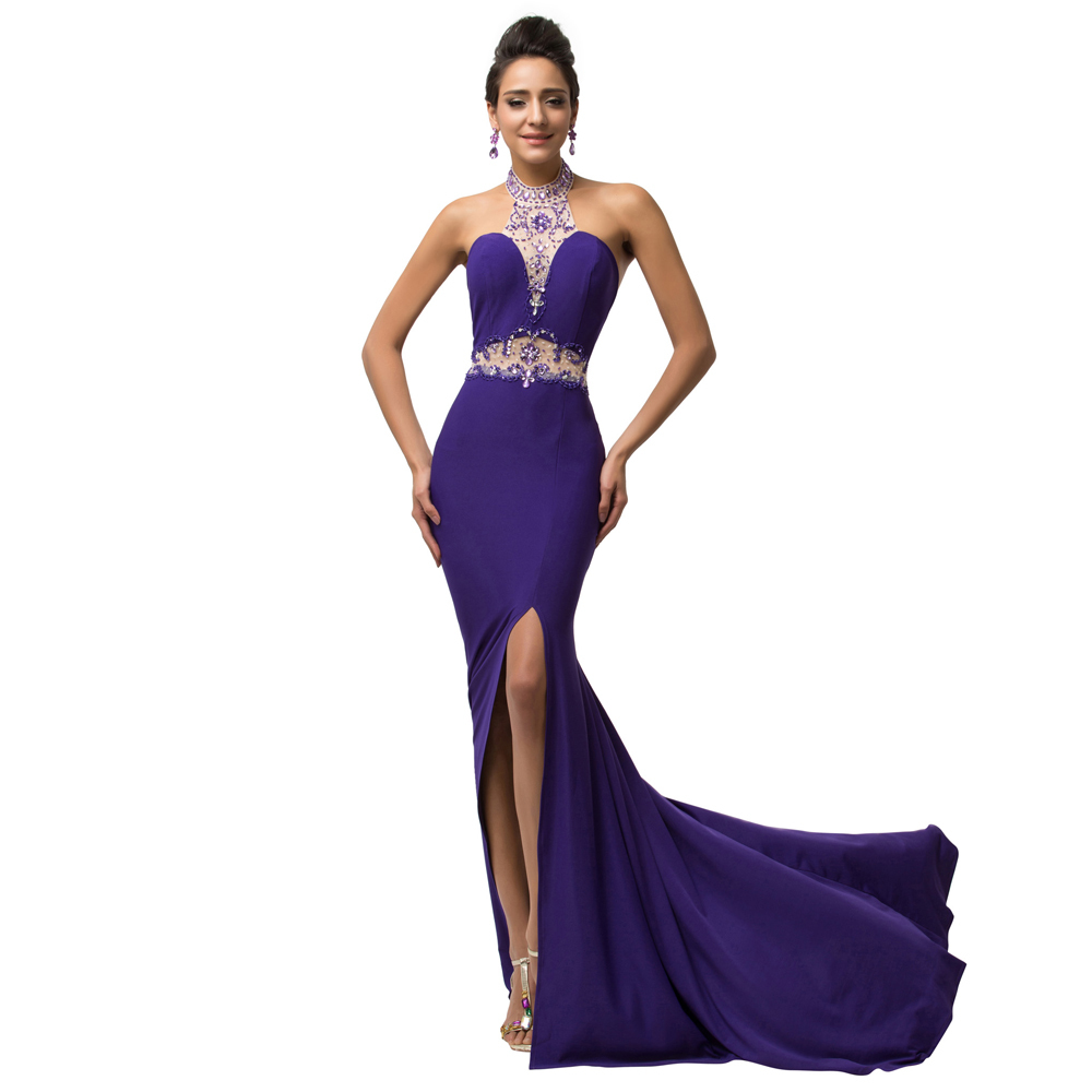 Sexy Backless Long Purple Evening Dress 2017 High Split Beads ...