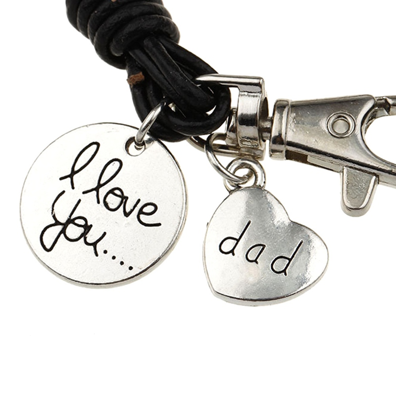 1PC Heart Charm Bracelet Carved Dad Love Message Fit Fathers Day Love Gifts Leather Bracelets Jewlery For Father