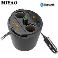 Car Bluetooth FM Transmitter Handsfree Car Kit Music MP3 Audio Player Cup Holder 2 Cigarette Lighter 2 USB Car Charger Adapter