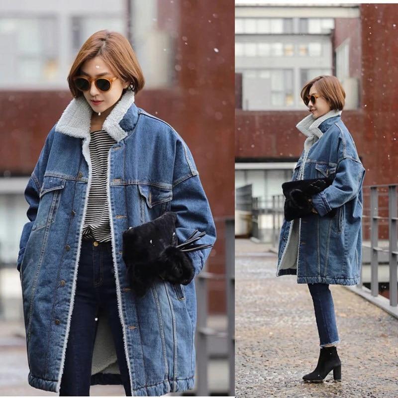 Winter New 2017 Women Lambswool Denim Coat Pockets Long Sleeves Warm Solid Color   Parkas   Outwear Long Denim Jackets MZ1722