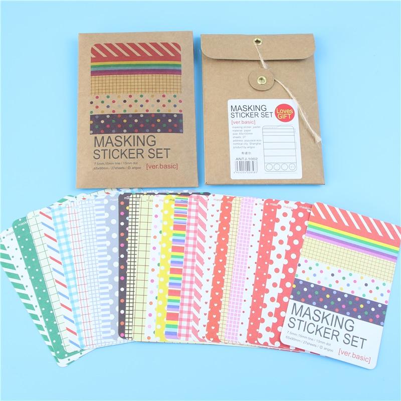 Scrapbooking 27 Pcs Basic Masking Tape Craft Stickers Pack Decorative Labelling Art Adhesives craft