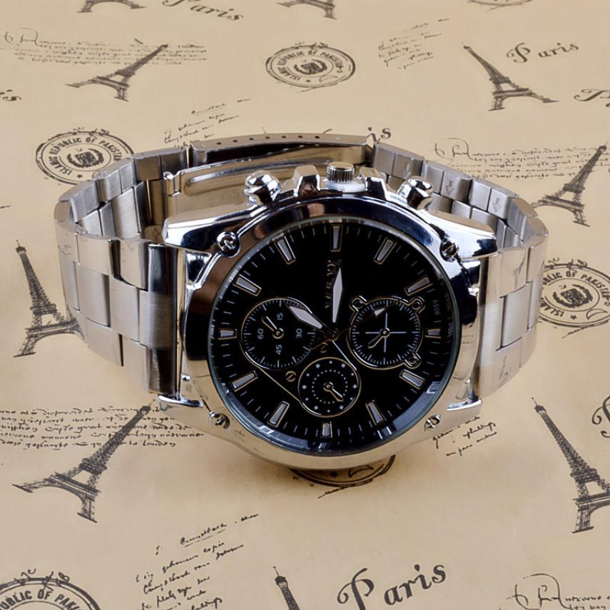 Business Quartz Watch  with Stainless Steel Band Machinery  Men my11