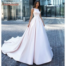 Plain elegant satin wedding dress with nice back customer order 2020