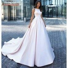 Đồng Bằng Thanh Lịch Satin Váy Cưới Với Lưng Dễ Thương Khách Hàng Đặt Hàng 2020