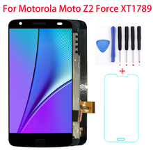 5.5'' LCD Display Screen For Motorola Moto Z2 Force Digitizer Display Touch Screen with Fingerprint Frame XT1789 Assembly black for motorola moto x style x3 xt1575 xt1572 xt1570 lcd display screen with touch digitizer frame assembly free shipping