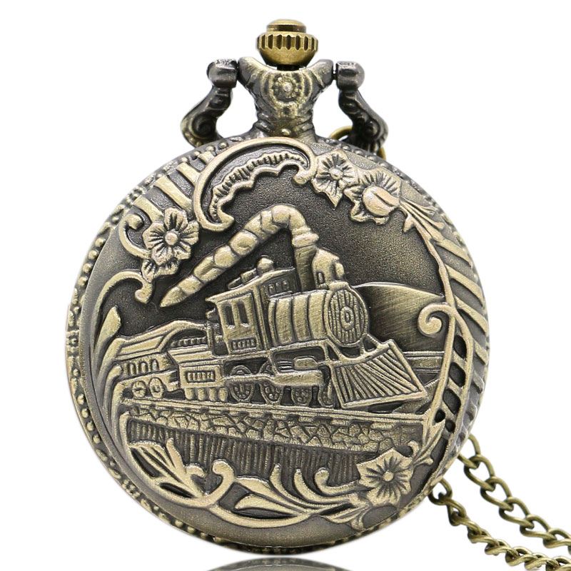 Cool Train Front Locomotive Engine Design Brass Quartz Pocket Watch With Chain Necklace For Men Women silver retro train locomotive engine design pocket watch mechanical pocket watch with double hunter women men relogio de bolso