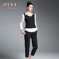 ZIYI Autumn Women Pant Suits Business Work Pearl Vest White Shirt Pencil 9 Pants Slim Elegant