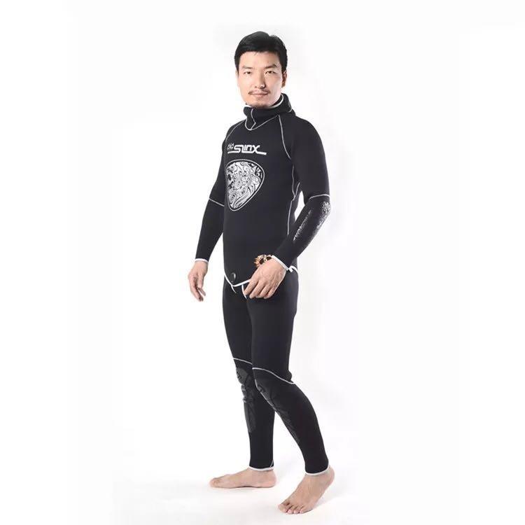 Image 2 - New Brand 5MM Neoprene Hood Wetsuits For Men Scuba Dive Equipment Spearfishing Warm Winter Swim 2 Piece Split Cap Hat Wet Suit-in Wetsuit from Sports & Entertainment