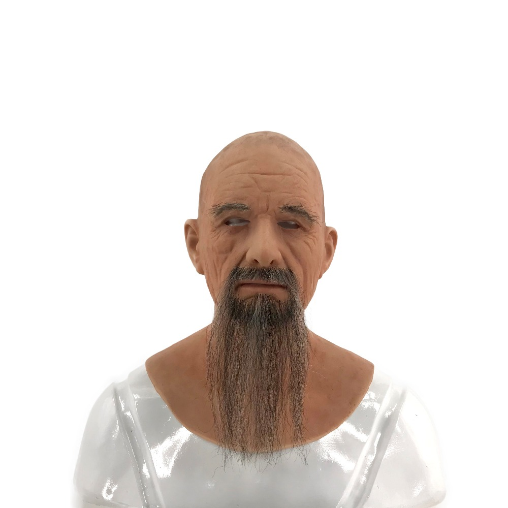 Realistic Silicone European Old Man with Mustache Mask for Disguise Party Mask Masquerade