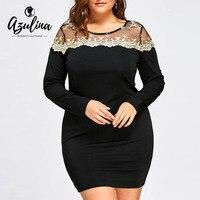 AZULINA Women Sexy Party Club Dresses Autumn Ladies Black Plus Size Mesh Insert Mini Bodycon Robe