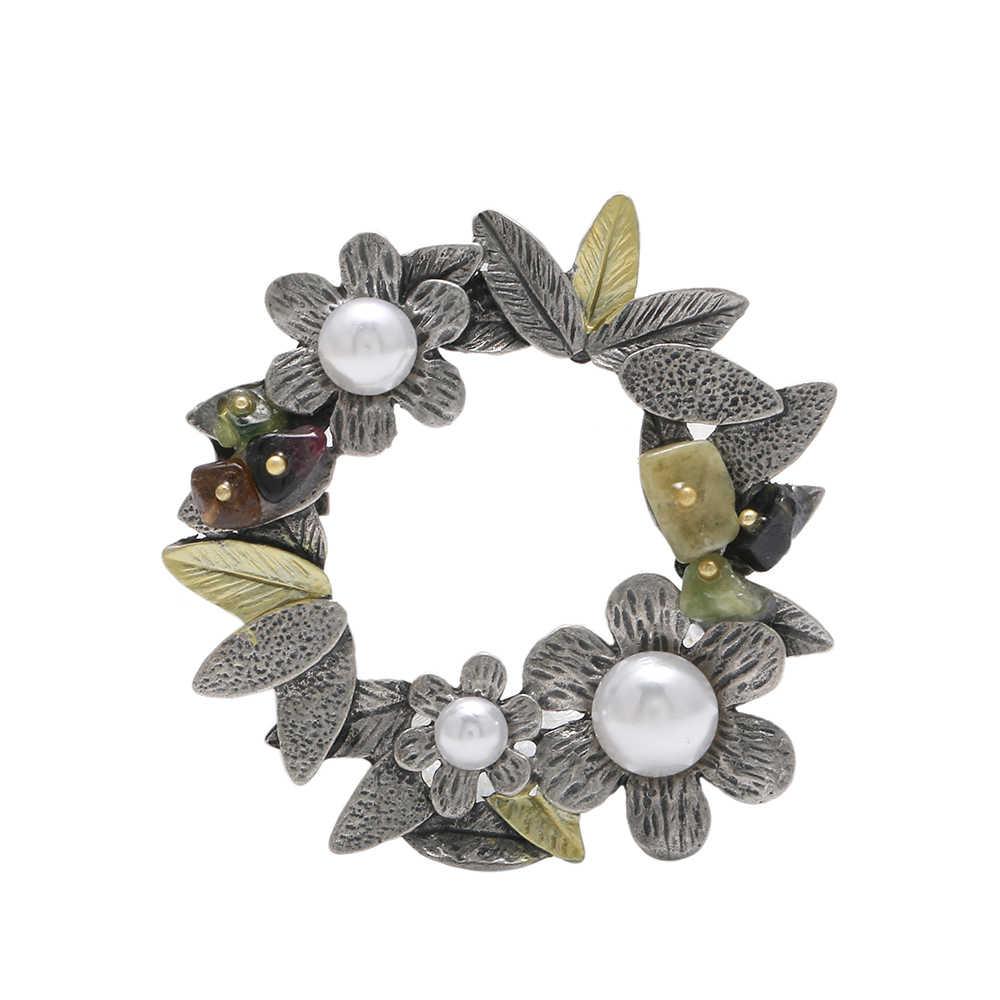 Vintage Style Imitasi Pearl Wanita Bros Colorful Batu Alam Besar Daun Bunga Bros Pins Pernikahan Aksesoris Perhiasan 1685