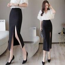 Black Sexy Plus Size Bodycon Pencil Long Skirts with Slit Womens High Waisted Elastic Red Bag Hip Skirt Step Skirt Clothes 2019 цена в Москве и Питере