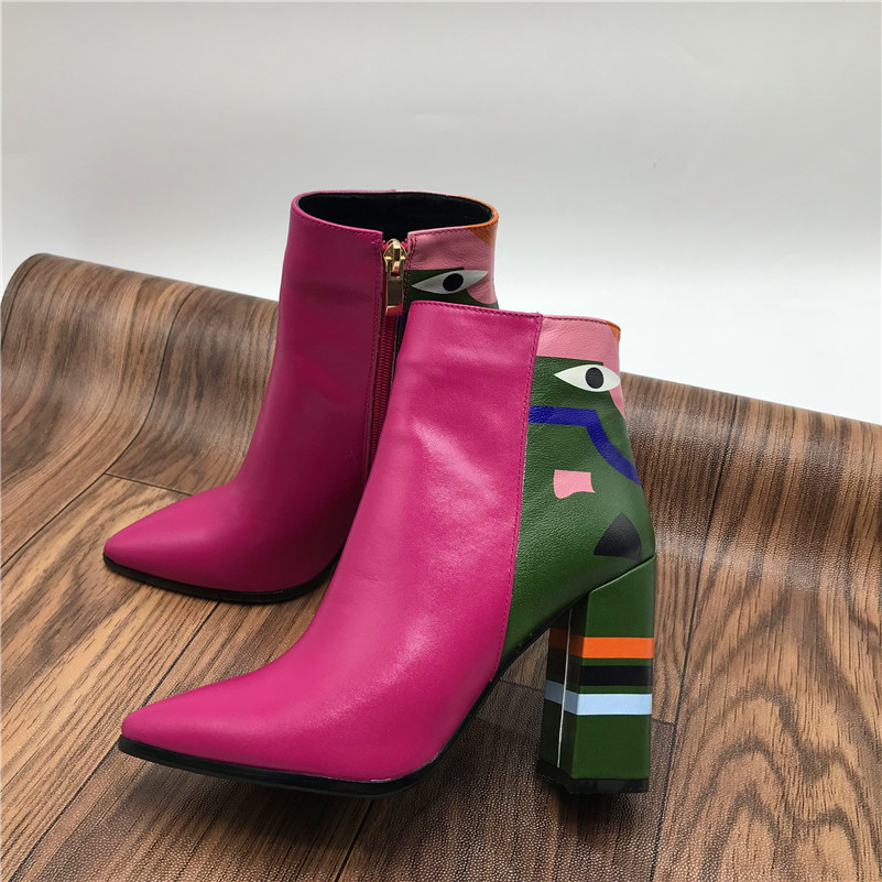 2019 Fashion Brand, Women's Ankle Boots, Print High Heels Martin Shoes, Women's Pumps Basic Leather Boots 22