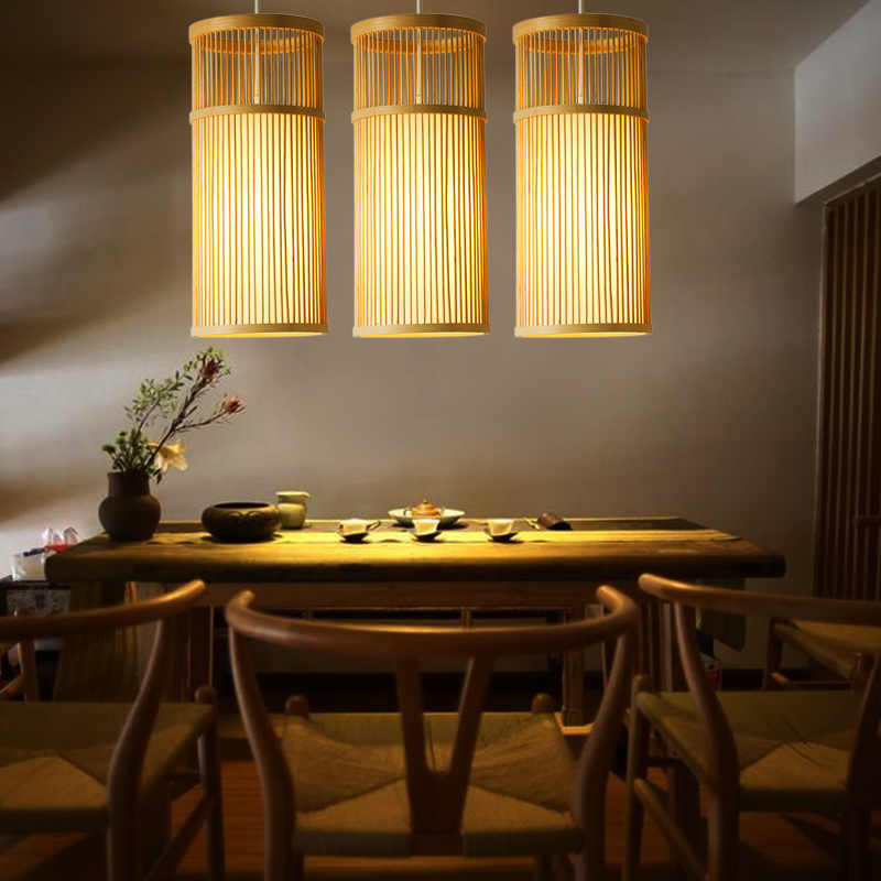 Japanese single head pendant lamps creative tea restaurant aisle lights bedroom bedside wood pendant lights ZA627 ZL116