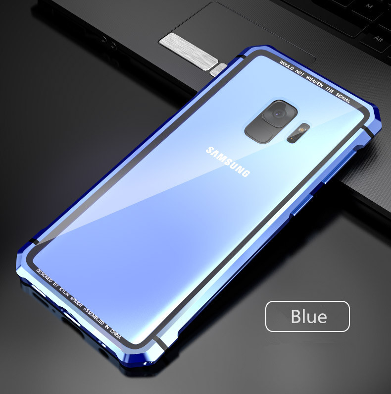 Samsung S9 Plus Shockproof case clear tempered glass back cover  diamond metal bumper (13)