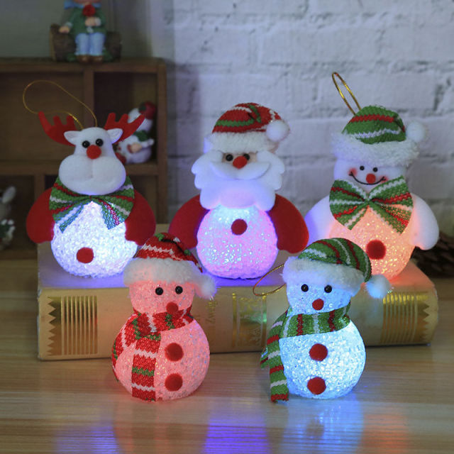2018 christmas led snowman santa light up chrismas ornament small light tree hanging deco