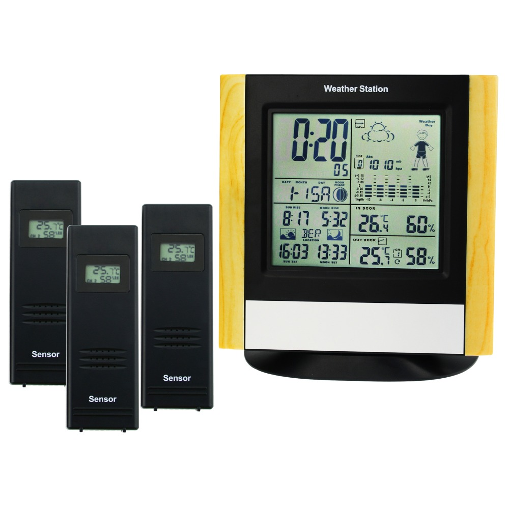 Weather Station 3 Wireless Sensors WWVB DCF Radio Controlled Clock Thermometer Indoor Outdoor Humidity Temperature Forecast