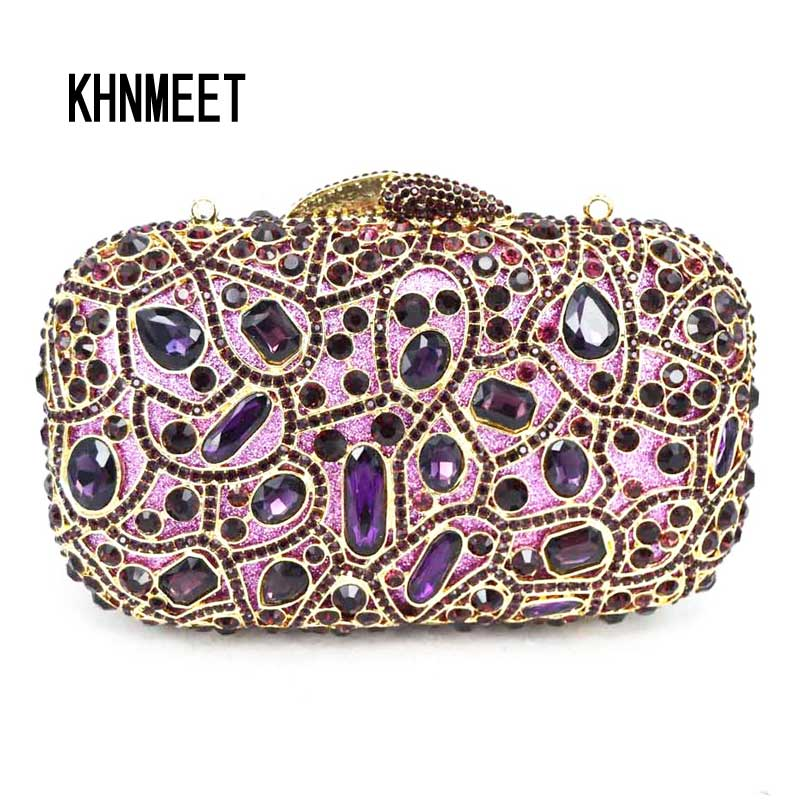 Fashion Luxury Sparkly Diamond Evening Bag Purple Crystal Clutch Bag Women Wedding Party Purse Female pochette banquet bag sc125
