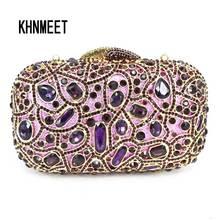Fashion Luxury Sparkly Diamond Evening Bag Purple Crystal Clutch Bag Women Wedding Party Purse Female pochette banquet bag sc125