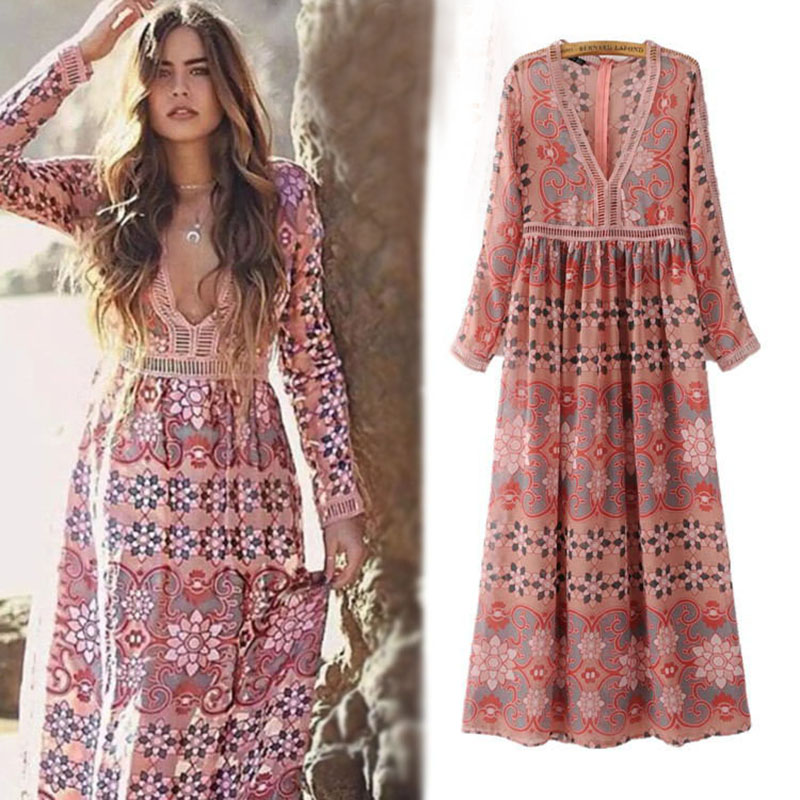 405413a1392e Popular Maxi Dress Ethnic-Buy Cheap Maxi Dress Ethnic lots from ... Women  HIPPIE floral print ...