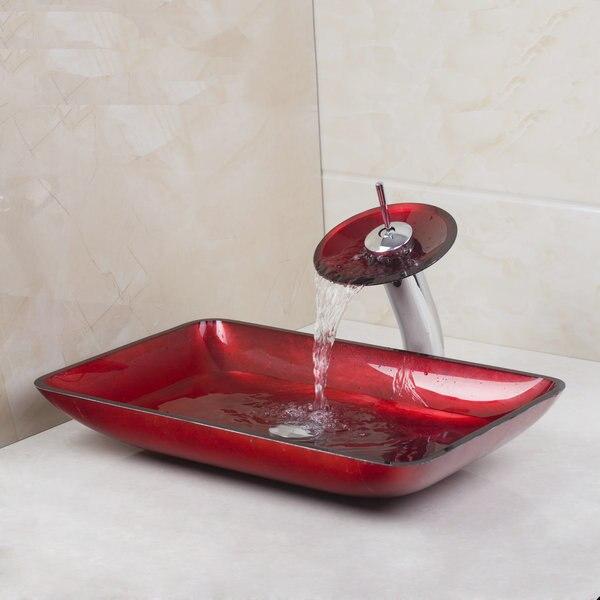 יד צבע אדום מלבני נצחון חדש כיור כיור זכוכית מחוסמת עם סט כיור אמבטיה ברז פליז 4018-1