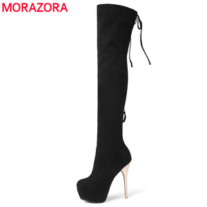 Image 1 - MORAZORA 2020 New fashion women boots flock leather platform over the knee boots zip autumn winter high heels thigh high boots