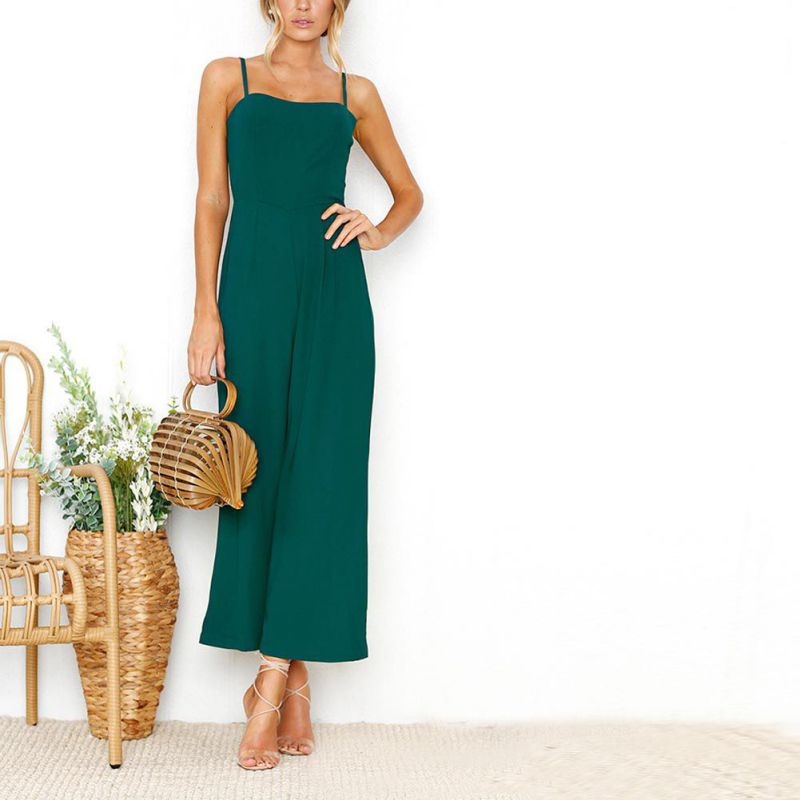 Women Jumpsuits Zipper Casual Sleeveless Elegant Office Lady Bodycon Solid Black Green Rompers