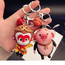 Creative cartoon cute monkey pig keychain men and women bag key chain ring 2019 Chinese Zodiac stainless steel chinese zodiac keychain snake