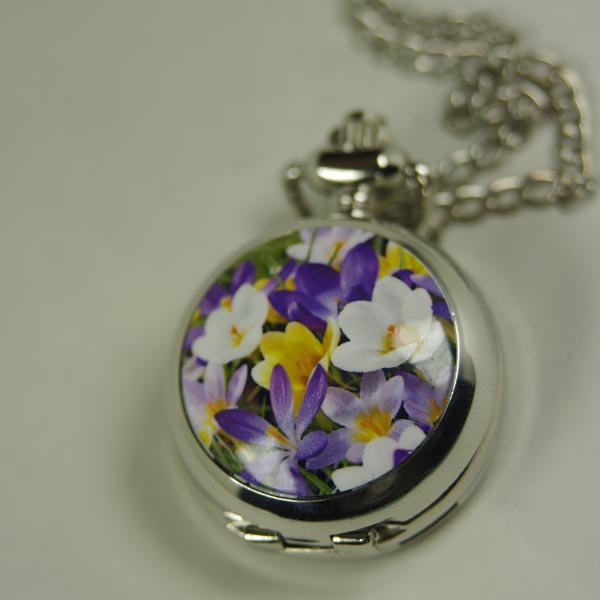 2012 shipping hot sale new men women lady Antique Mini Pocket Watch Necklace silver colorful orchid glass wp366