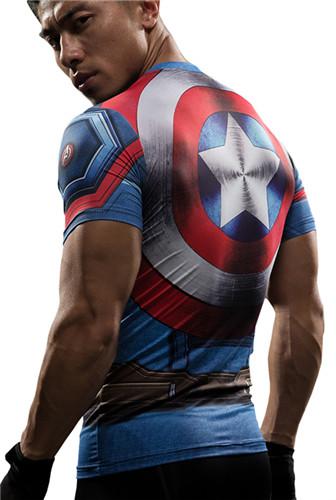 Joli T shirt Captain America Impression 3D T shirts À Manches Courtes Cosplay Costume Vêtements Homme
