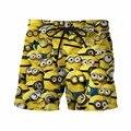 Cute Cartoon Minions 3D Shorts Mens Funny Beach Shorts Streetwear Board Shorts Mens Hipster Short Pants