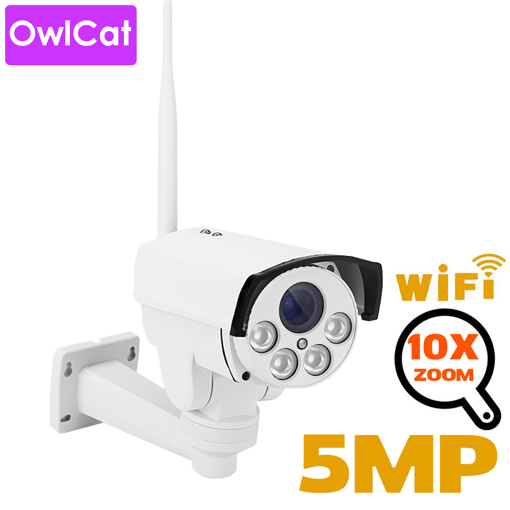 OwlCat 5x 10x Optical Zoom HD 5MP Sony 335 PTZ WiFi IP Camera Wireless Bullet Outdoor With TF SD Card 128GB Video Audio Mic IR