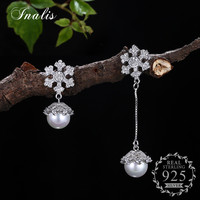 INALIS 925 Sterling Silver Snow Zircon Earrings With Pearl For Women Fine Jewelry Romantic Elegant Gift