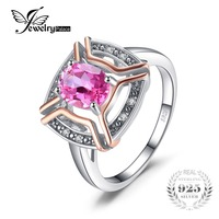 JewelryPalace Classical 1 5ct Oval Shape Genuine Pink Topaz Ring 100 925 Sterling Silver Wedding Fine