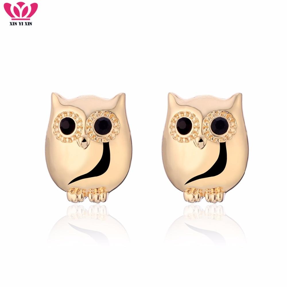 NEW Fashion Tiny Cute Owl Stud Earrings Women Gold Silver Steel Needle Black Eye Owl Animal Earring Girl Jewelry Dropshipping