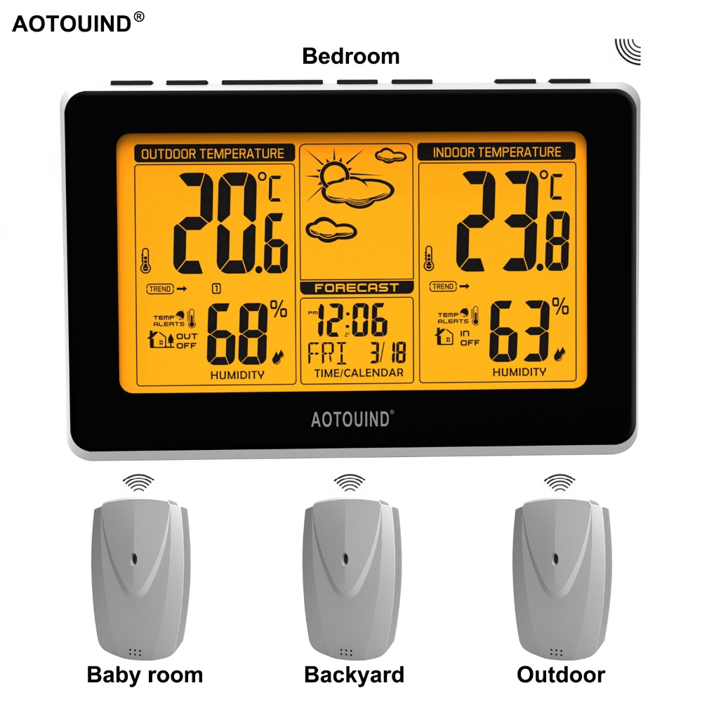 AOTOUIND Wireless Weather Station Clock with Indoor Outdoor Thermometer Hygrometer and Temperature Alerts T02 3 Sensors