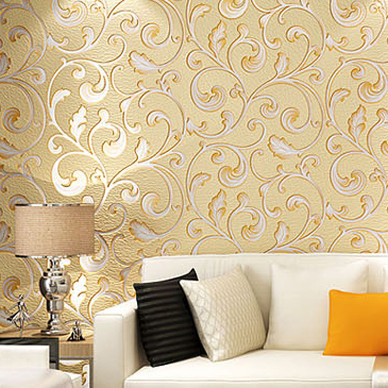 European Style 3D Stereo Embossed Flower Wallpaper Living Room Sofa TV Backdrop Wall Non-Woven Wallpaper Papel De Parede 3D Sala custom 3d stereo wallpaper murals window outside european scenery living room tv wall decoration painting papel de parede 3d