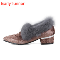 Brand New Hot Sweet Pink Coffee Gray Women Casual Pumps Lady Rabbit Furry Shoes Chunky Heels