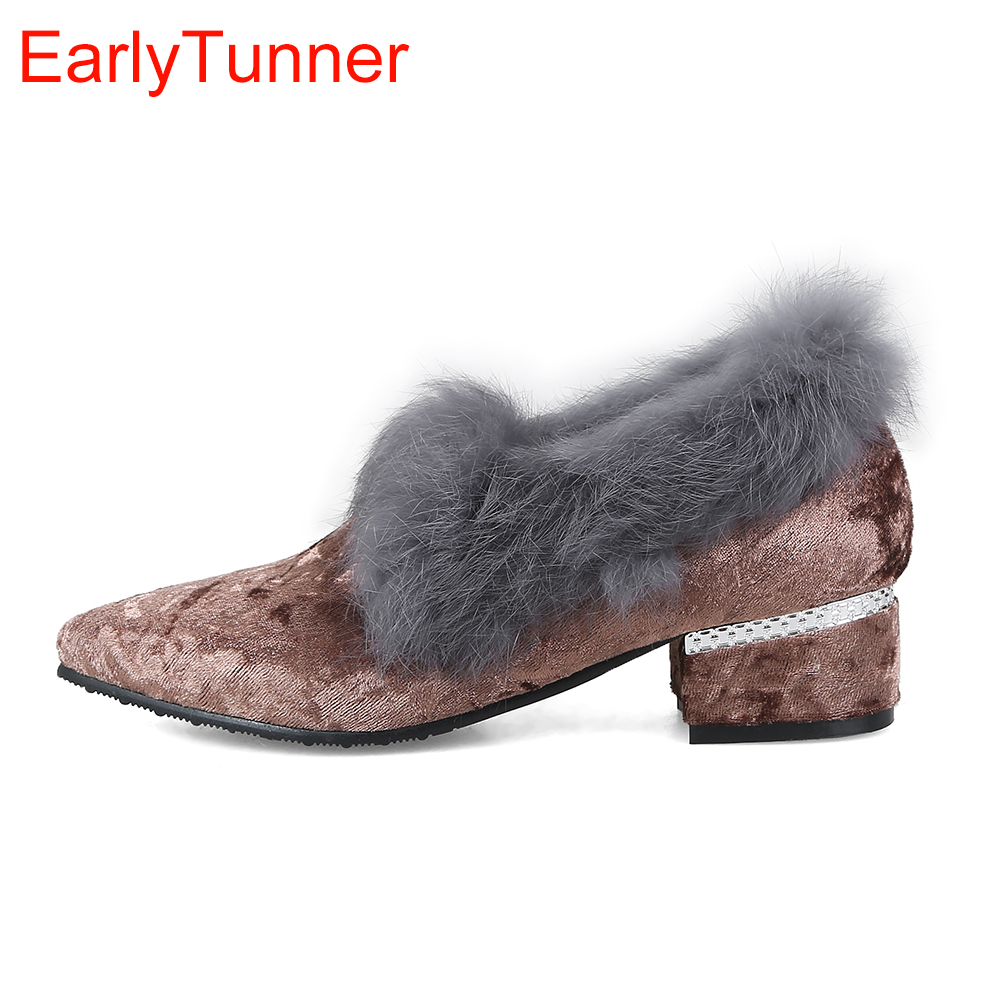 Brand New Hot Sweet Pink Coffee Gray Women Casual Pumps Lady Rabbit Furry Shoes Chunky Heels EH82 Plus Big Small Size 10 32 48 sweet plus size scoop neck flounce sleeves chiffon blouse for women