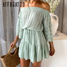 Affogatoo Elegant ruffle off shoulder women summer dress Embroidery cotton pleated short dress Casual flare sleeve beach dress
