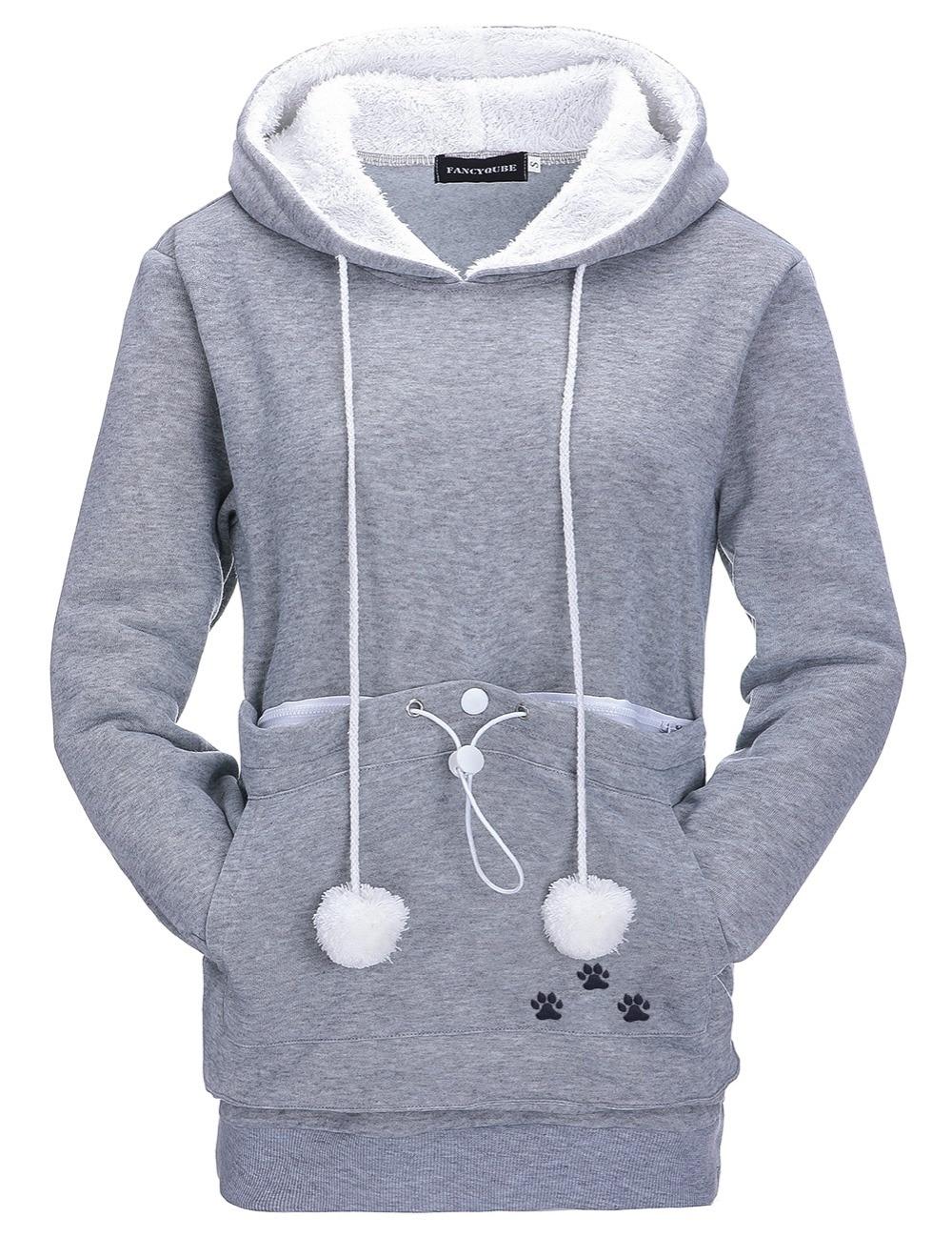 17 New Cartoon Hooded Hoodies Lover Cats Kangaroo Dog Hoodie Long Sleeve Sweatshirt Front Pocket Casual Animal Ear Hoodie 24