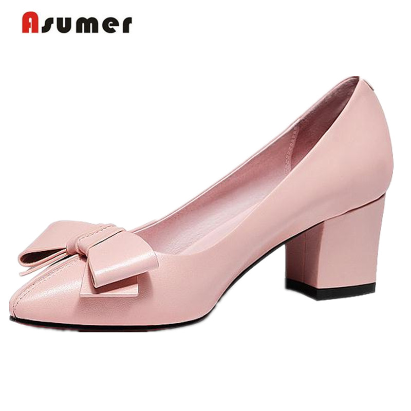 ФОТО Asumer Butterfly-knot genuine leather shoes pointed toe sweet fashion high heels shoes four seasons solid work shoes