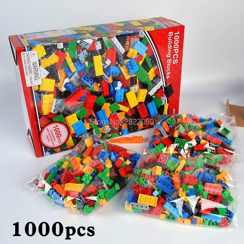 1000 stücke DIY Klassische Stapeln block Ziegel Pädagogisches spielzeug Kreative Designer Bausteine Zubehör Ziegel spielzeug für kinder
