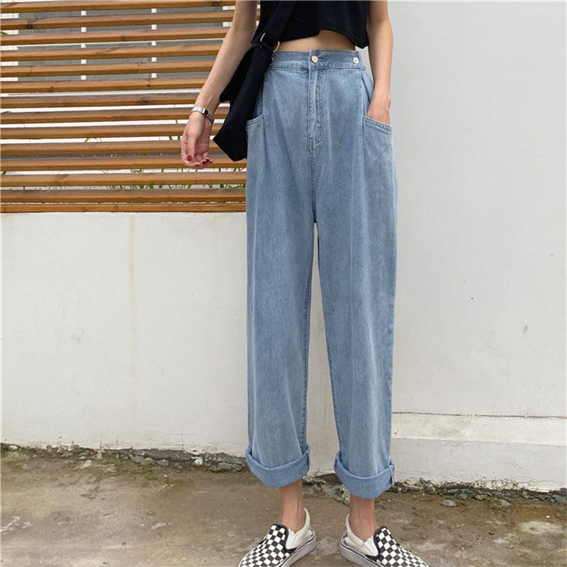 HziriP Straight Light Washed Vintage Casual Button Fly Loose Jeans High Waist All Match 2019 Autumn Women Female Denim Pants