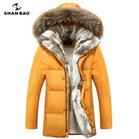 Men's and women's leisure down jacket high quality thick warm warm with Fur hooded parka brand big size yellow black white S 5XL