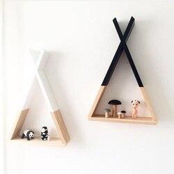 Duża drewniana geometria półka dekoracja pokoju ściana wisząca półka do przechowywania Home Decor prezent dla dzieci sypialnia drewniane półki w Figurki i miniatury od Dom i ogród na
