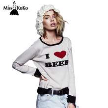 Haoduoyi MissKoKo Autumn Women Clothing O,neck Long Sleeve Loose Sweater  Words Red