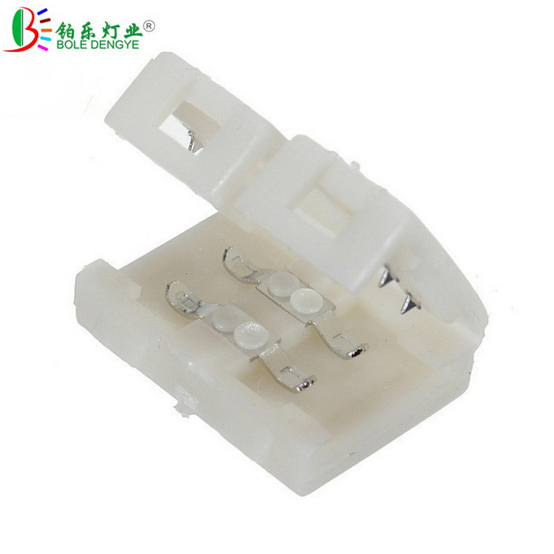 20pcs 8mm 10mm 2pin Single Color Led Strip PCB Connector For 3528 2835 5050 5630 Non Waterproof Strip Tape Solderless