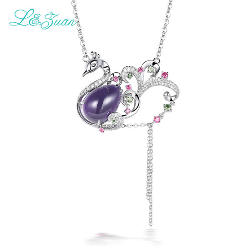 Fashion personality 925sterling silver Natural Amethyst Pendant Purple Stone Jewelry With Silver Chain Gift Black Friday Schmuck