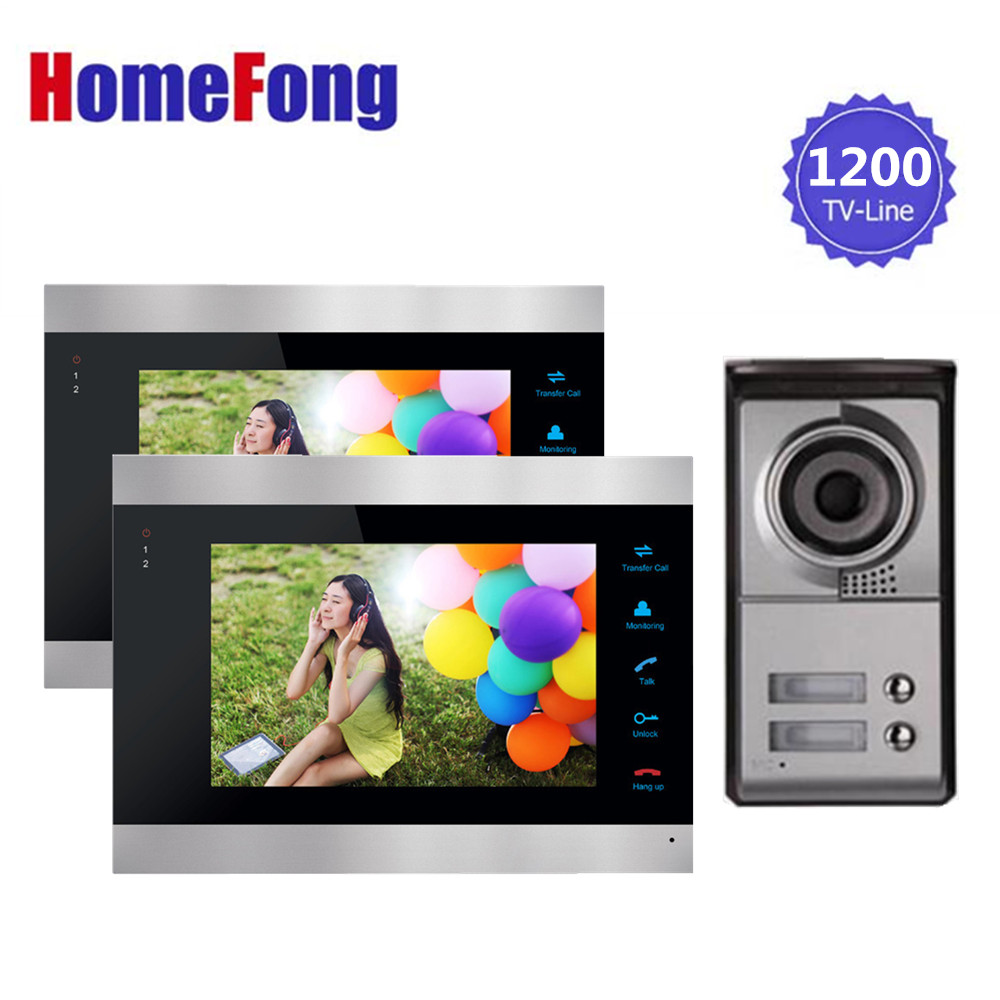 Homefong 7 inch Video Door Phone Intercom System 1 Doorbell Camera with 2 button  for Apartment 2 indoor Monitor Rainproof homefong 7inch video door phone intercom video eye 1 indoor monitor 2 800tvl hd doorbell camera video doorbell system